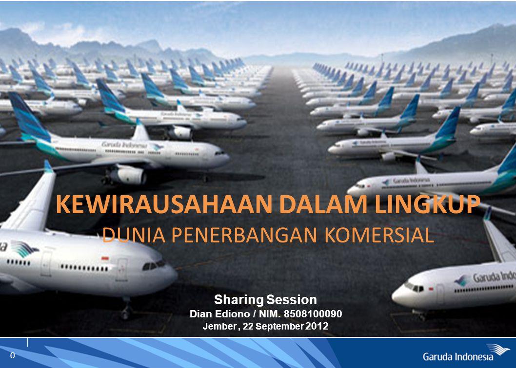 0 KEWIRAUSAHAAN DALAM LINGKUP DUNIA PENERBANGAN KOMERSIAL Sharing Session Dian Ediono / NIM. 8508100090 Jember, 22 September 2012