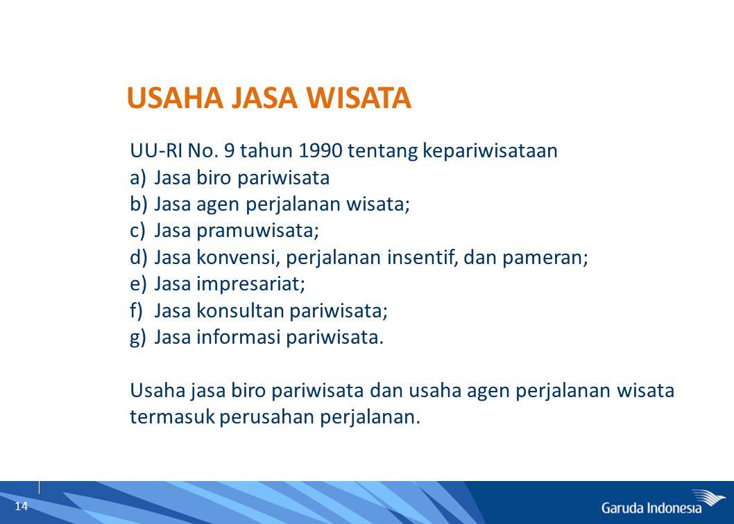 14 UU-RI No. 9 tahun 1990 tentang kepariwisataan a)Jasa biro pariwisata b)Jasa agen perjalanan wisata; c)Jasa pramuwisata; d)Jasa konvensi, perjalanan