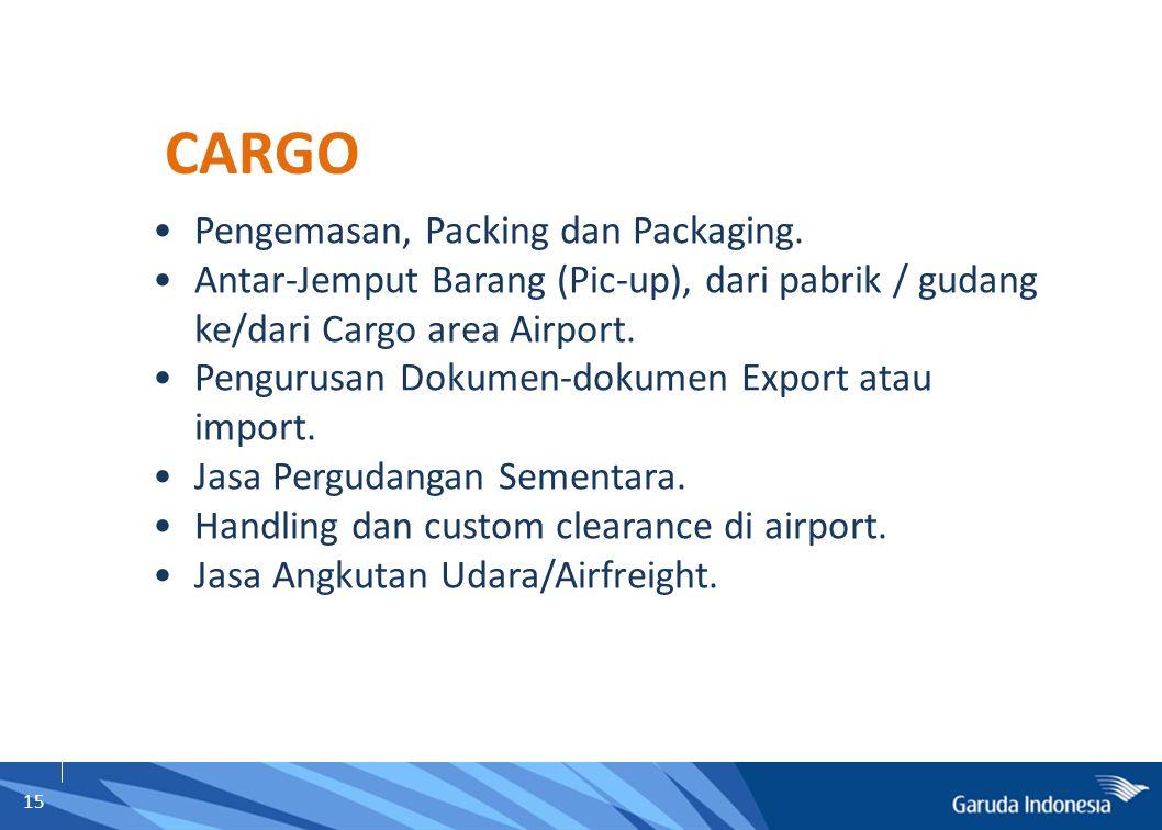 15 Pengemasan, Packing dan Packaging. Antar-Jemput Barang (Pic-up), dari pabrik / gudang ke/dari Cargo area Airport. Pengurusan Dokumen-dokumen Export
