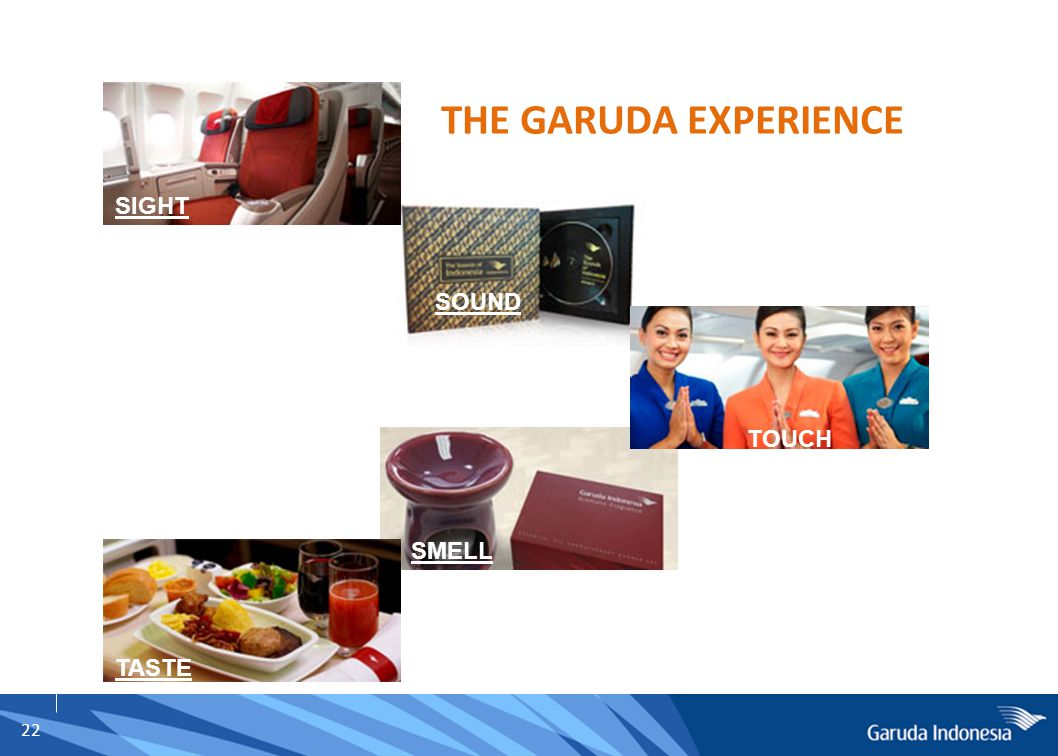 22 SIGHT SOUND SMELL TASTE TOUCH THE GARUDA EXPERIENCE