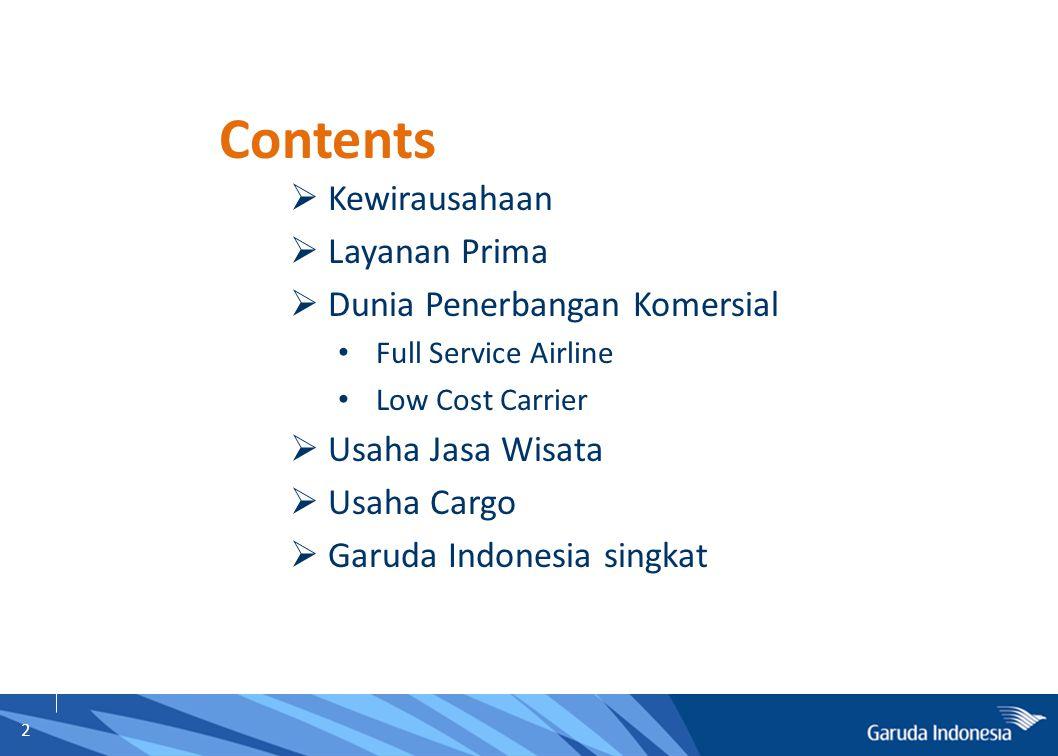 2  Kewirausahaan  Layanan Prima  Dunia Penerbangan Komersial Full Service Airline Low Cost Carrier  Usaha Jasa Wisata  Usaha Cargo  Garuda Indon