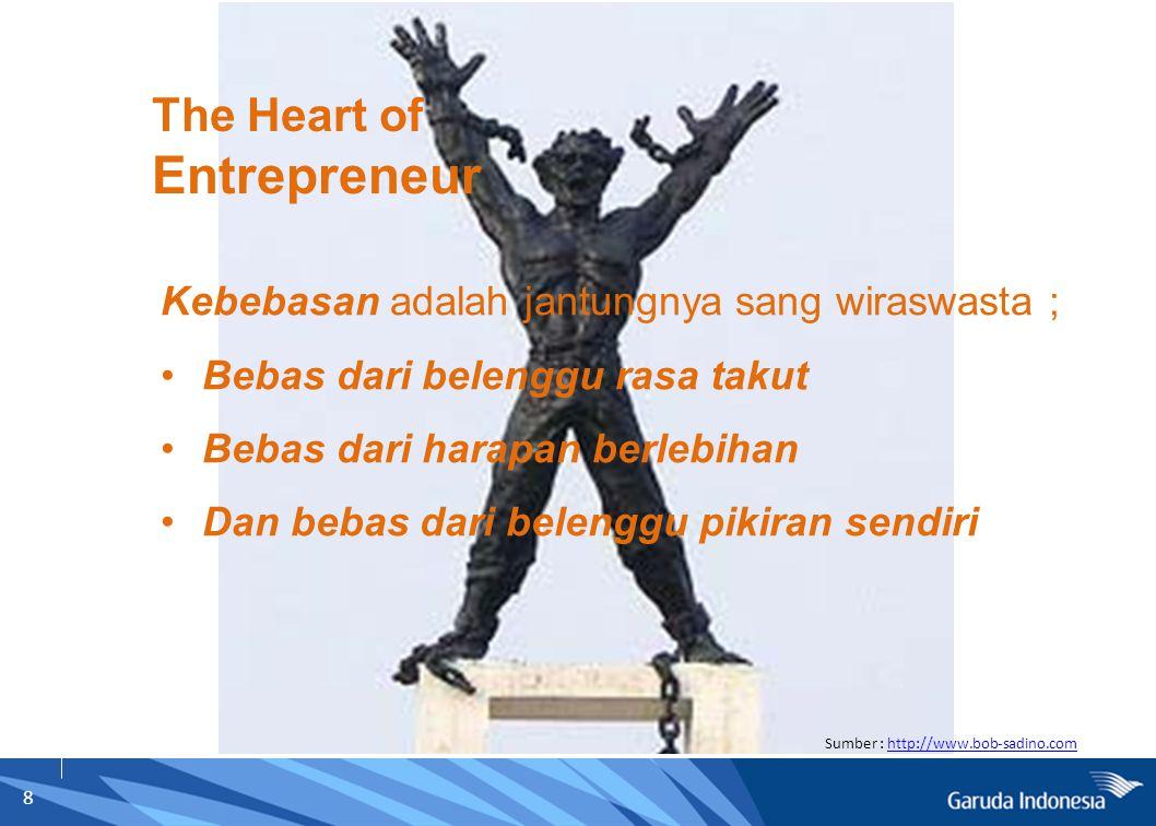 8 Sumber : http://www.bob-sadino.comhttp://www.bob-sadino.com The Heart of Entrepreneur Kebebasan adalah jantungnya sang wiraswasta ; Bebas dari belen