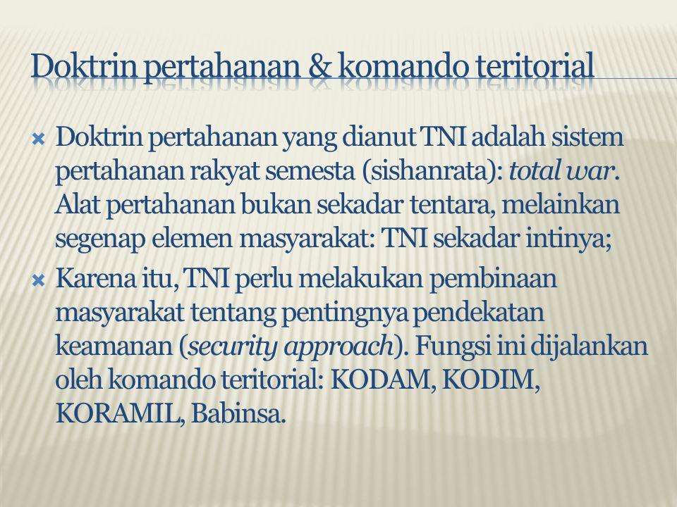  Doktrin pertahanan yang dianut TNI adalah sistem pertahanan rakyat semesta (sishanrata): total war. Alat pertahanan bukan sekadar tentara, melainkan