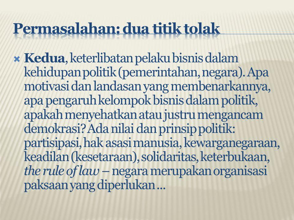  Kedua, keterlibatan pelaku bisnis dalam kehidupan politik (pemerintahan, negara). Apa motivasi dan landasan yang membenarkannya, apa pengaruh kelomp