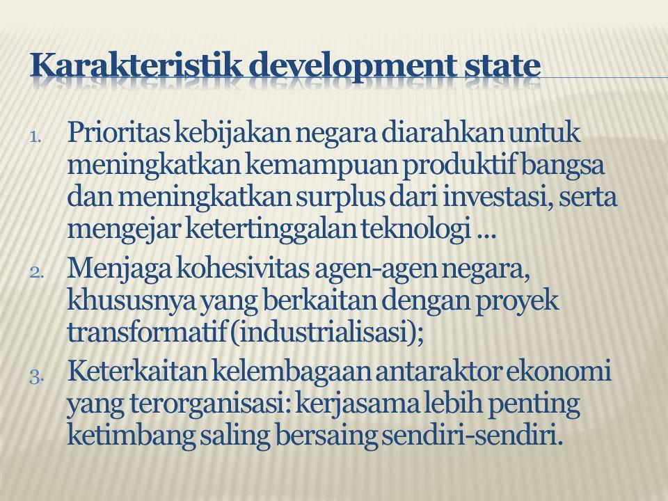 1. Prioritas kebijakan negara diarahkan untuk meningkatkan kemampuan produktif bangsa dan meningkatkan surplus dari investasi, serta mengejar ketertin