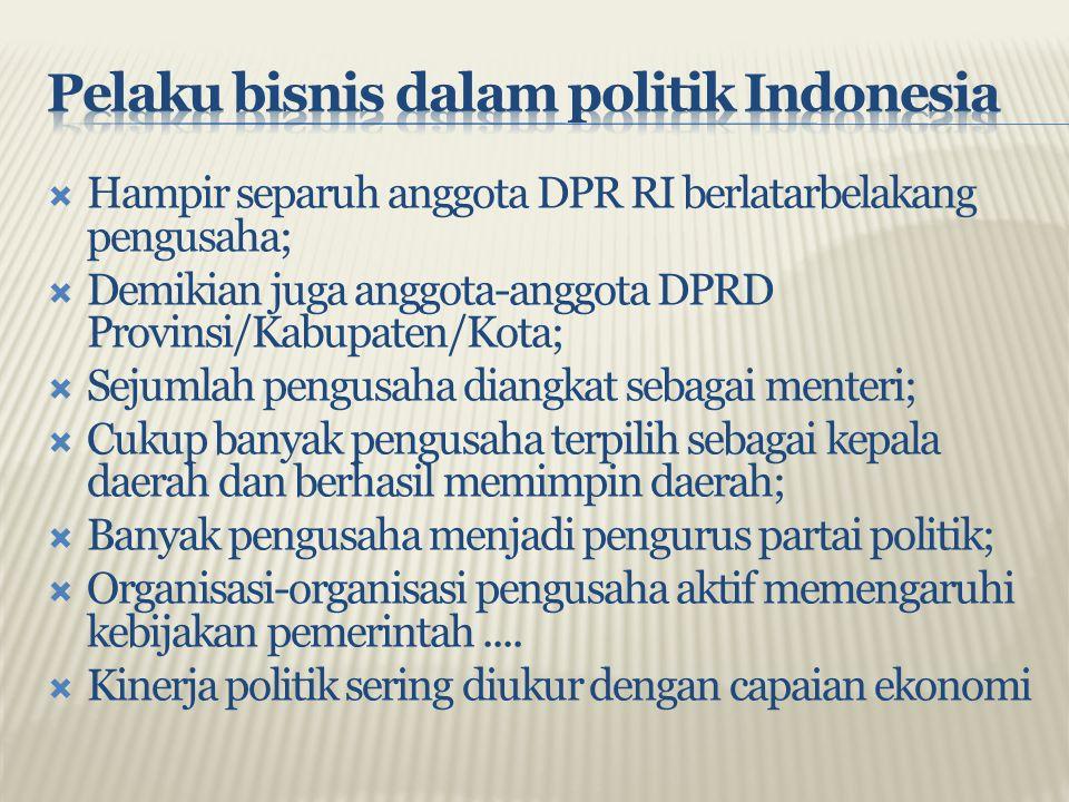  Hampir separuh anggota DPR RI berlatarbelakang pengusaha;  Demikian juga anggota-anggota DPRD Provinsi/Kabupaten/Kota;  Sejumlah pengusaha diangka