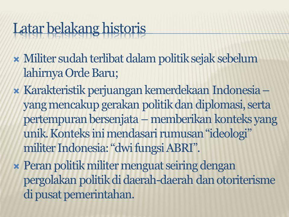  Demokrasi Terpimpin Soekarno membuka jalan bagi peran politik militer melalui pembentukan Dewan Nasional demi memperkuat kepemimpinan Soekarno;  Konfigurasi kekuasaan bertumpu pada pada tiga pilar: TNI, PKI, dan Soekarno sebagai penyeimbang atas rivalitas antar TNI dan PKI;  Secara konstitusional, peran politik militer berlindung pada konsep golongan fungsional yang harus terwakili dalam politik/parlemen, khususnya MPR.