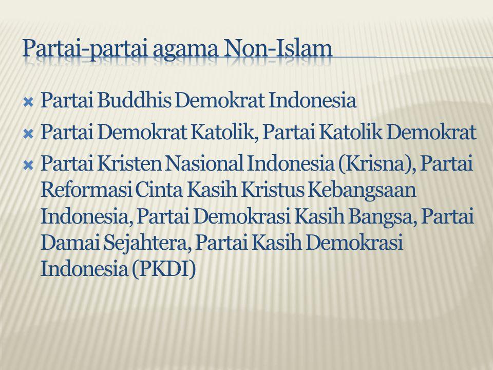  Partai Buddhis Demokrat Indonesia  Partai Demokrat Katolik, Partai Katolik Demokrat  Partai Kristen Nasional Indonesia (Krisna), Partai Reformasi