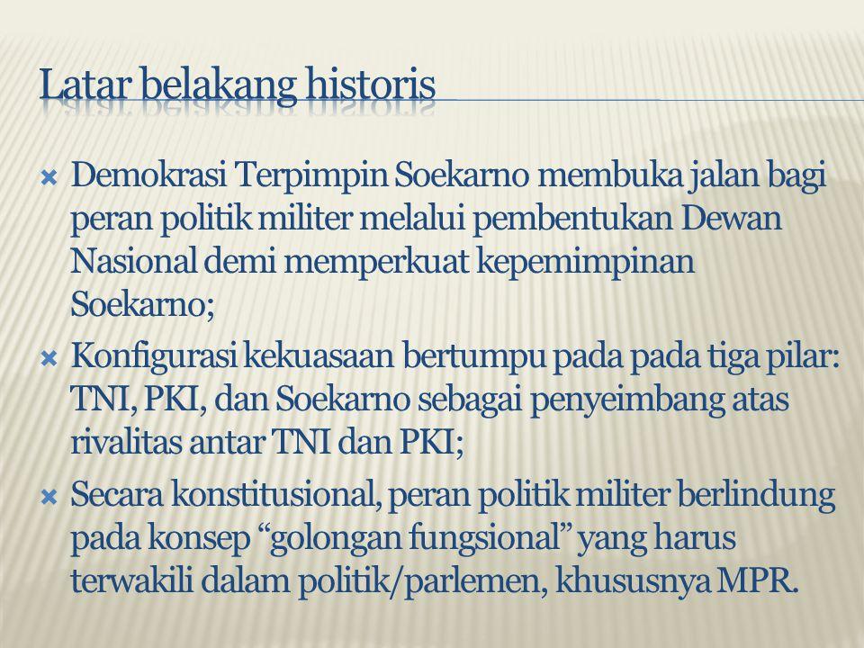  Demokrasi Terpimpin Soekarno membuka jalan bagi peran politik militer melalui pembentukan Dewan Nasional demi memperkuat kepemimpinan Soekarno;  Ko
