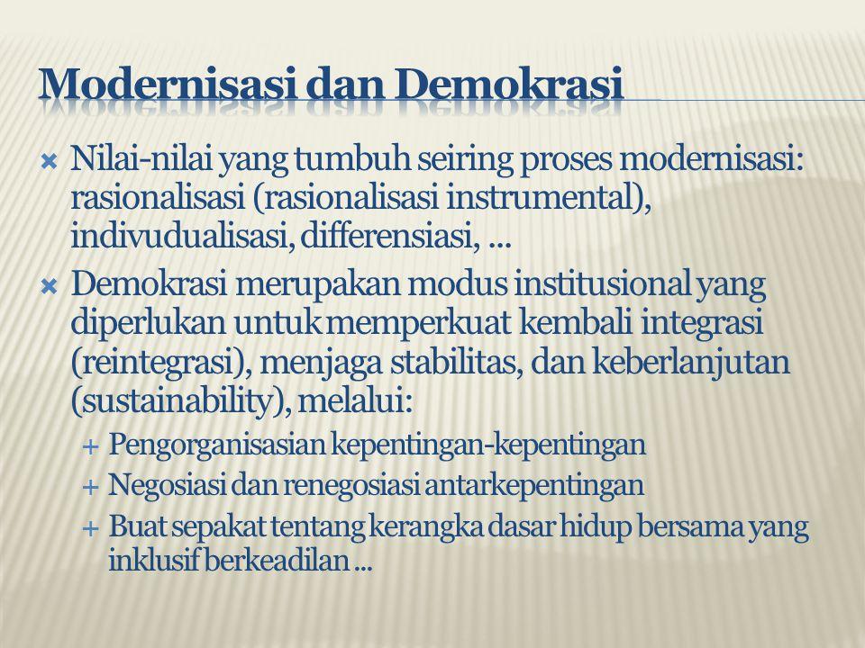  Nilai-nilai yang tumbuh seiring proses modernisasi: rasionalisasi (rasionalisasi instrumental), indivudualisasi, differensiasi,...  Demokrasi merup