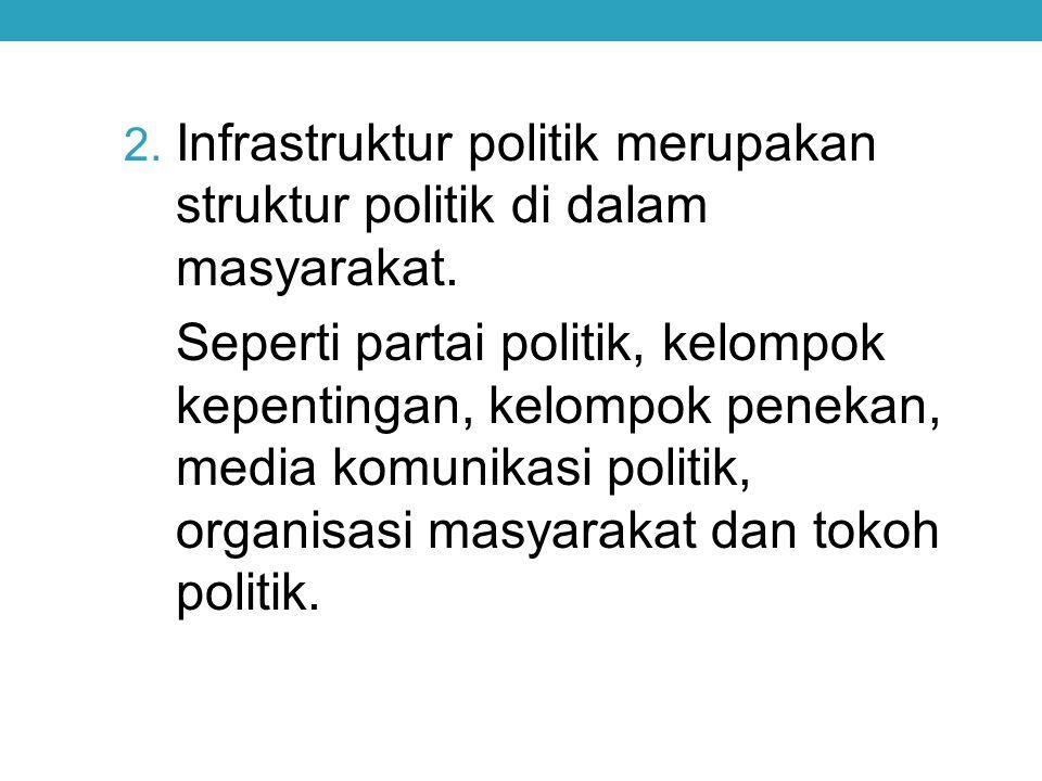 2. Infrastruktur politik merupakan struktur politik di dalam masyarakat. Seperti partai politik, kelompok kepentingan, kelompok penekan, media komunik