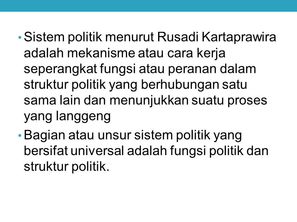 Sistem politik menurut Rusadi Kartaprawira adalah mekanisme atau cara kerja seperangkat fungsi atau peranan dalam struktur politik yang berhubungan sa