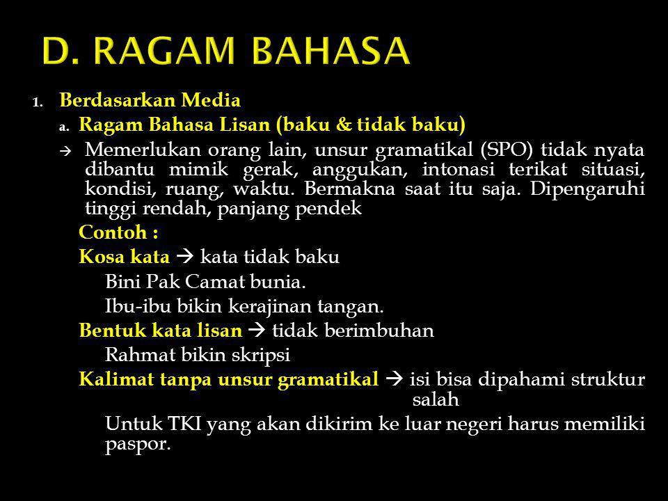 1. Berdasarkan Media a. Ragam Bahasa Lisan (baku & tidak baku)  Memerlukan orang lain, unsur gramatikal (SPO) tidak nyata dibantu mimik gerak, angguk