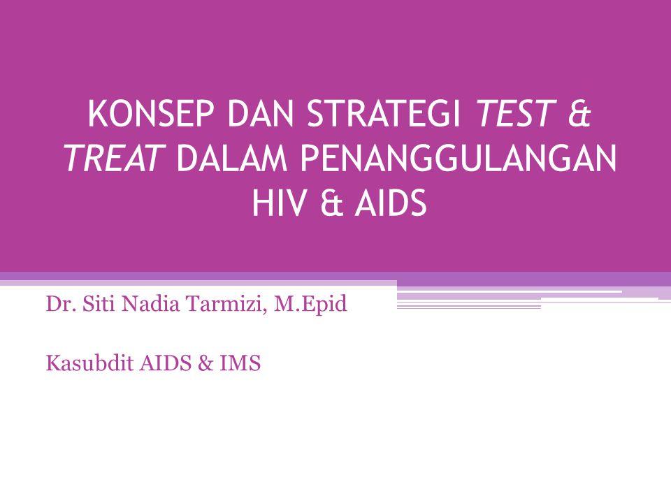 KONSEP DAN STRATEGI TEST & TREAT DALAM PENANGGULANGAN HIV & AIDS Dr. Siti Nadia Tarmizi, M.Epid Kasubdit AIDS & IMS