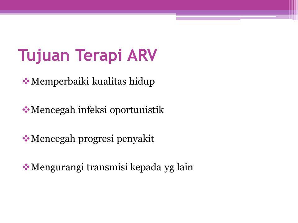 Tujuan Terapi ARV  Memperbaiki kualitas hidup  Mencegah infeksi oportunistik  Mencegah progresi penyakit  Mengurangi transmisi kepada yg lain