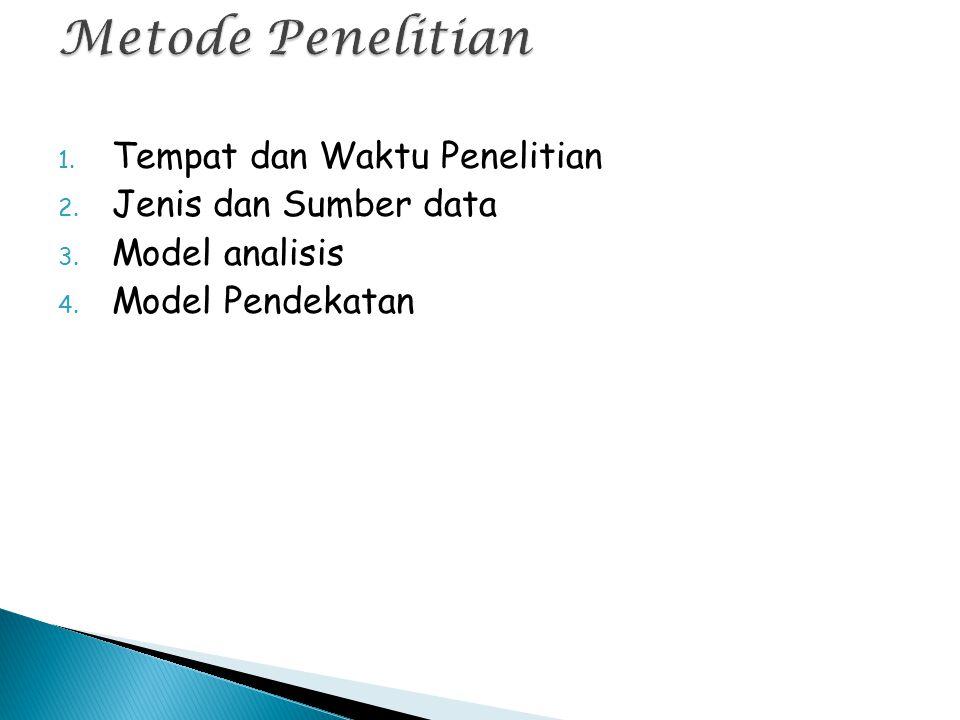 1. Tempat dan Waktu Penelitian 2. Jenis dan Sumber data 3. Model analisis 4. Model Pendekatan