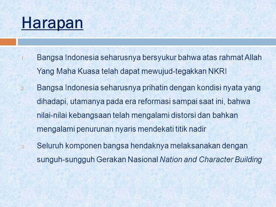 Harapan 1. Bangsa Indonesia seharusnya bersyukur bahwa atas rahmat Allah Yang Maha Kuasa telah dapat mewujud-tegakkan NKRI 2. Bangsa Indonesia seharus