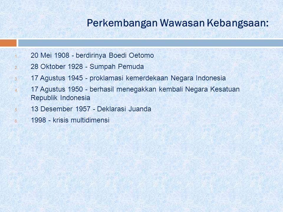 Perkembangan Wawasan Kebangsaan: 1. 20 Mei 1908 - berdirinya Boedi Oetomo 2. 28 Oktober 1928 - Sumpah Pemuda 3. 17 Agustus 1945 - proklamasi kemerdeka