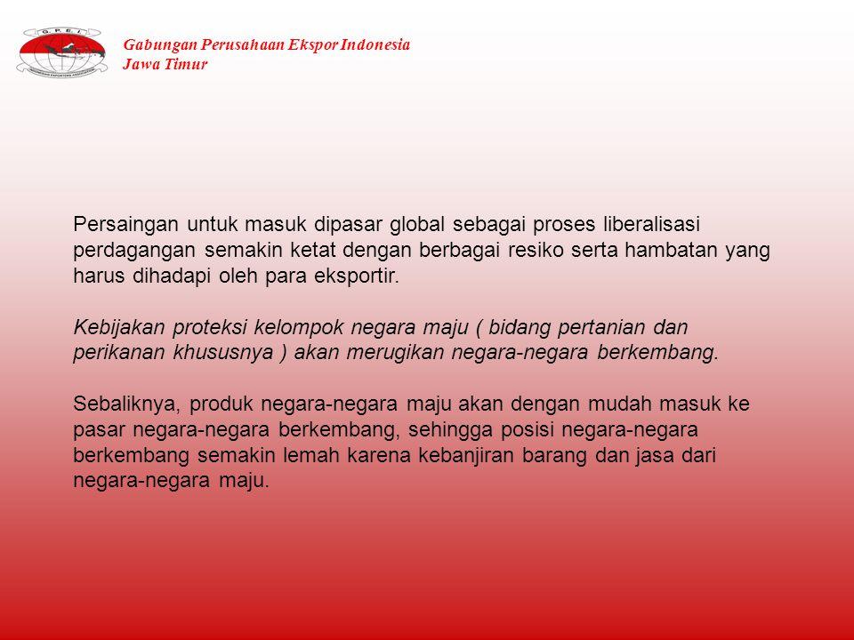 GAMBARAN PERDAGANGAN JAWA TIMUR Dari jumlah eksportir non migas Jawa Timur, 20 % merupakan eksportir besar dan sisanya 80 % dari kelompok UKM.
