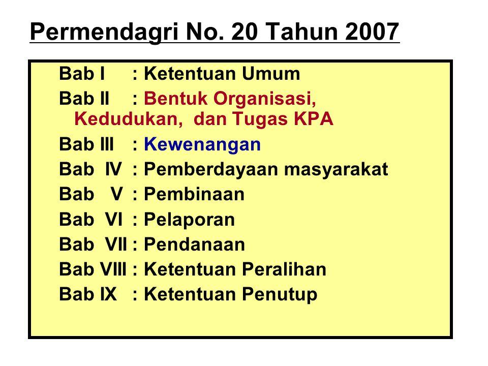 Permendagri No. 20 Tahun 2007 Bab I: Ketentuan Umum Bab II: Bentuk Organisasi, Kedudukan, dan Tugas KPA Bab III: Kewenangan Bab IV: Pemberdayaan masya