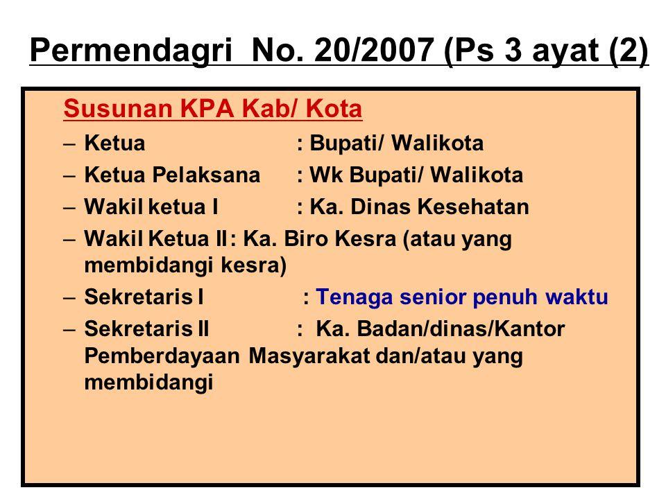 Permendagri No. 20/2007 (Ps 3 ayat (2) Susunan KPA Kab/ Kota –Ketua : Bupati/ Walikota –Ketua Pelaksana: Wk Bupati/ Walikota –Wakil ketua I: Ka. Dinas