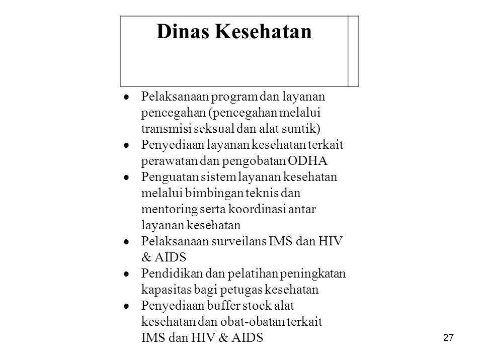 27 Dinas Kesehatan  Pelaksanaan program dan layanan pencegahan (pencegahan melalui transmisi seksual dan alat suntik)  Penyediaan layanan kesehatan