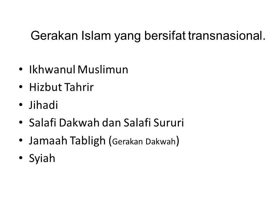 Ikhwanul Muslimun Hizbut Tahrir Jihadi Salafi Dakwah dan Salafi Sururi Jamaah Tabligh ( Gerakan Dakwah ) Syiah Gerakan Islam yang bersifat transnasion