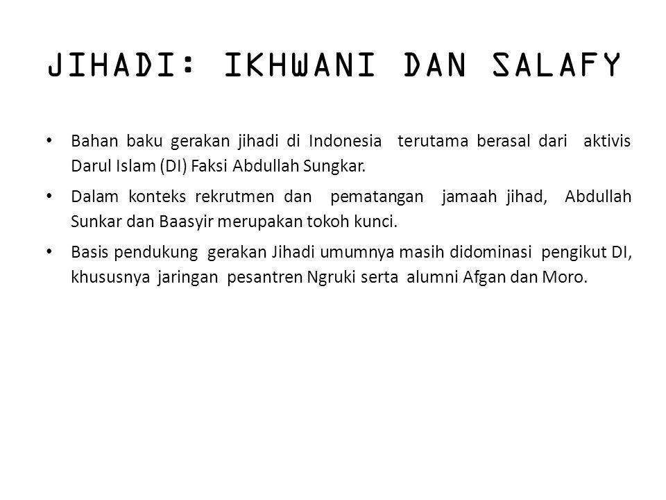 JIHADI: IKHWANI DAN SALAFY Bahan baku gerakan jihadi di Indonesia terutama berasal dari aktivis Darul Islam (DI) Faksi Abdullah Sungkar. Dalam konteks