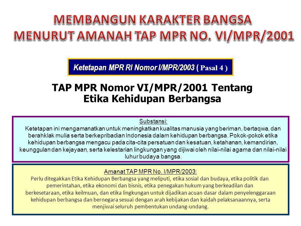 TAP MPR Nomor VI/MPR/2001 Tentang Etika Kehidupan Berbangsa Substansi: Ketetapan ini mengamanatkan untuk meningkatkan kualitas manusia yang beriman, b