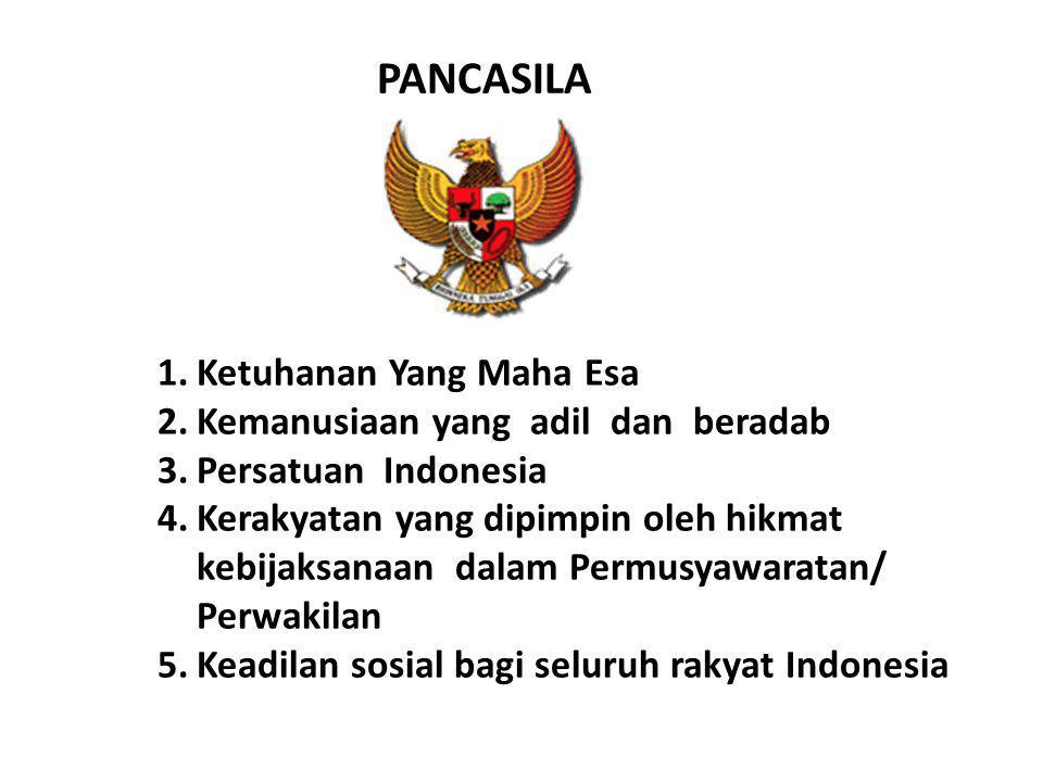 1.Ketuhanan Yang Maha Esa 2.Kemanusiaan yang adil dan beradab 3.Persatuan Indonesia 4.Kerakyatan yang dipimpin oleh hikmat kebijaksanaan dalam Permusy