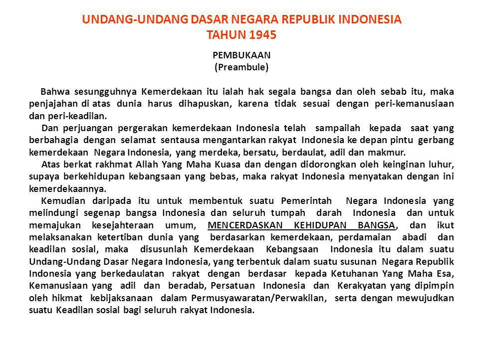 UNDANG-UNDANG DASAR NEGARA REPUBLIK INDONESIA TAHUN 1945 PEMBUKAAN (Preambule) Bahwa sesungguhnya Kemerdekaan itu ialah hak segala bangsa dan oleh seb