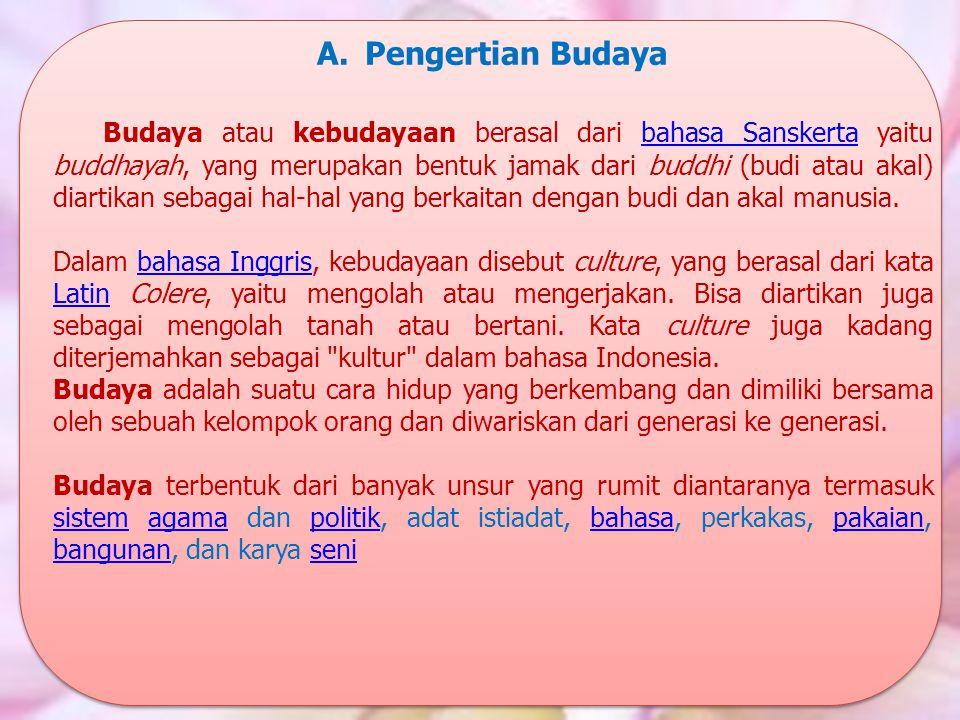 A.Pengertian Budaya Budaya atau kebudayaan berasal dari bahasa Sanskerta yaitu buddhayah, yang merupakan bentuk jamak dari buddhi (budi atau akal) dia