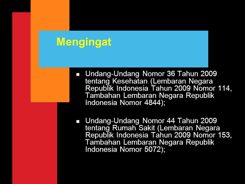 Mengingat n Undang-Undang Nomor 36 Tahun 2009 tentang Kesehatan (Lembaran Negara Republik Indonesia Tahun 2009 Nomor 114, Tambahan Lembaran Negara Rep