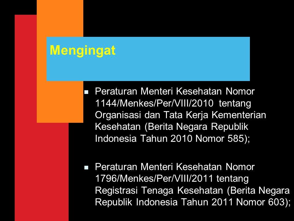 Mengingat n Peraturan Menteri Kesehatan Nomor 1144/Menkes/Per/VIII/2010 tentang Organisasi dan Tata Kerja Kementerian Kesehatan (Berita Negara Republi