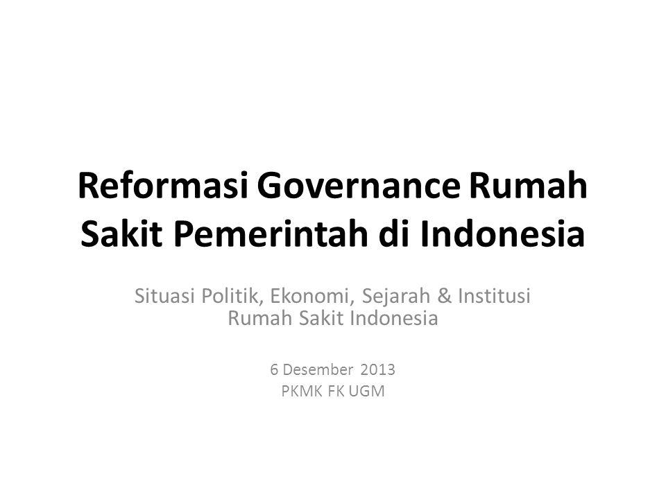 Reformasi Governance Rumah Sakit Pemerintah di Indonesia Situasi Politik, Ekonomi, Sejarah & Institusi Rumah Sakit Indonesia 6 Desember 2013 PKMK FK UGM