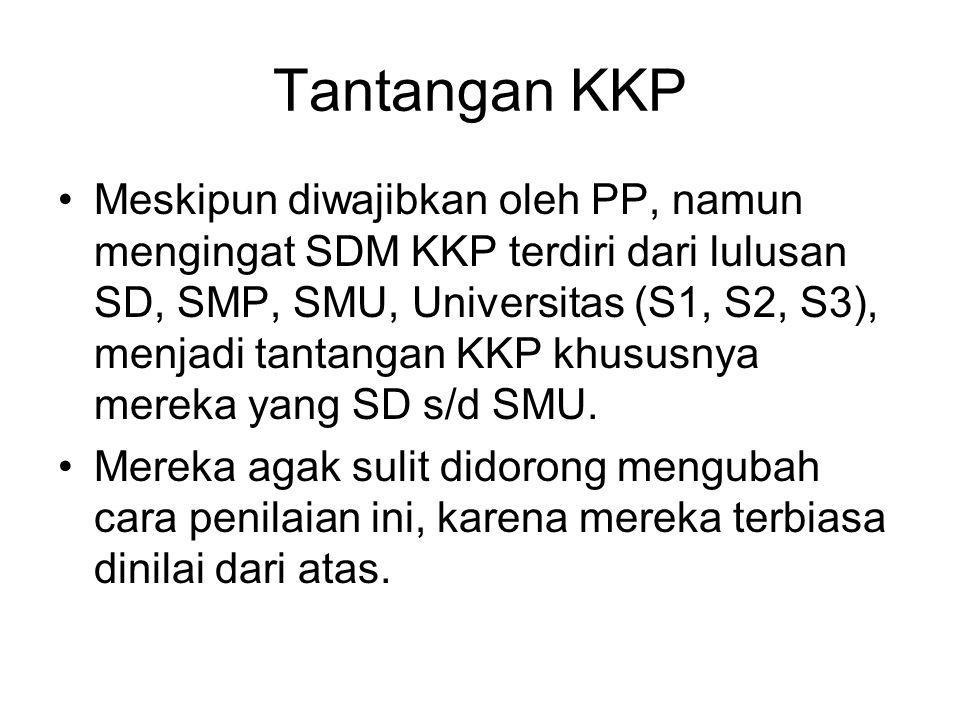 Tantangan KKP Meskipun diwajibkan oleh PP, namun mengingat SDM KKP terdiri dari lulusan SD, SMP, SMU, Universitas (S1, S2, S3), menjadi tantangan KKP