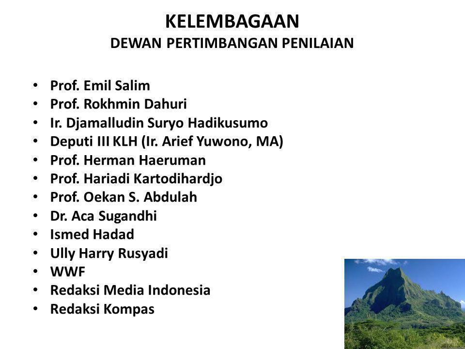 KELEMBAGAAN DEWAN PERTIMBANGAN PENILAIAN Prof. Emil Salim Prof. Rokhmin Dahuri Ir. Djamalludin Suryo Hadikusumo Deputi III KLH (Ir. Arief Yuwono, MA)