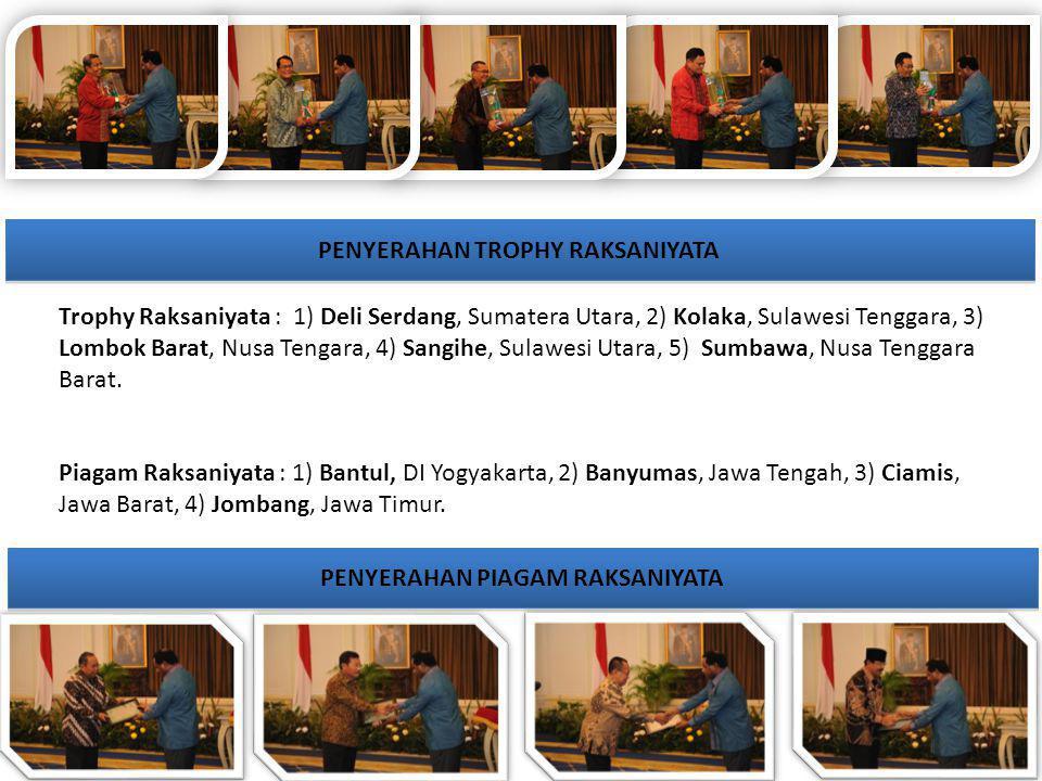 PENYERAHAN TROPHY RAKSANIYATA PENYERAHAN PIAGAM RAKSANIYATA Trophy Raksaniyata : 1) Deli Serdang, Sumatera Utara, 2) Kolaka, Sulawesi Tenggara, 3) Lom