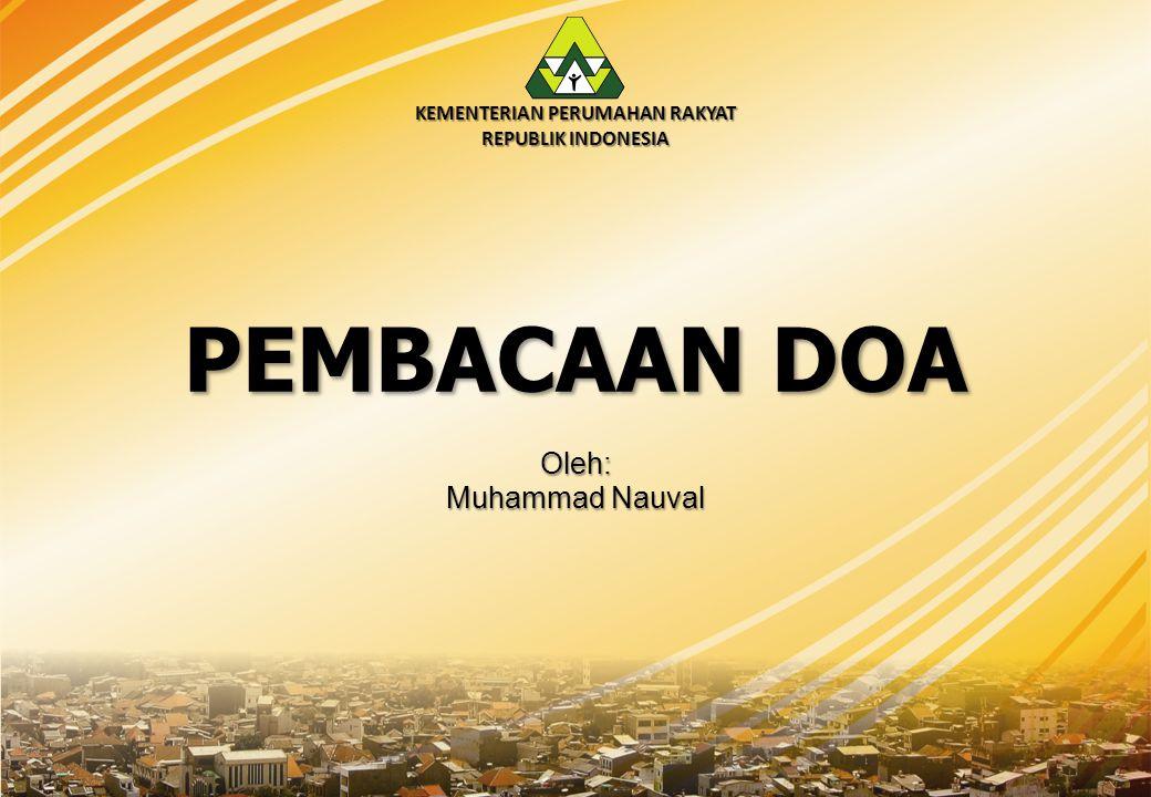 KEMENTERIAN PERUMAHAN RAKYAT REPUBLIK INDONESIA Sesi Pleno I: Rencana Program dan Kegiatan Bidang Perumahan dan Kawasan Permukiman Tahun 2015 – 2019 Oleh: 1.Sekretaris Kemenpera 2.Deputi Bidang Pembiayaan 3.Deputi Bidang Pengembangan Kawasan 4.Deputi Bidang Perumahan Swadaya 5.Deputi Bidang Perumahan Formal