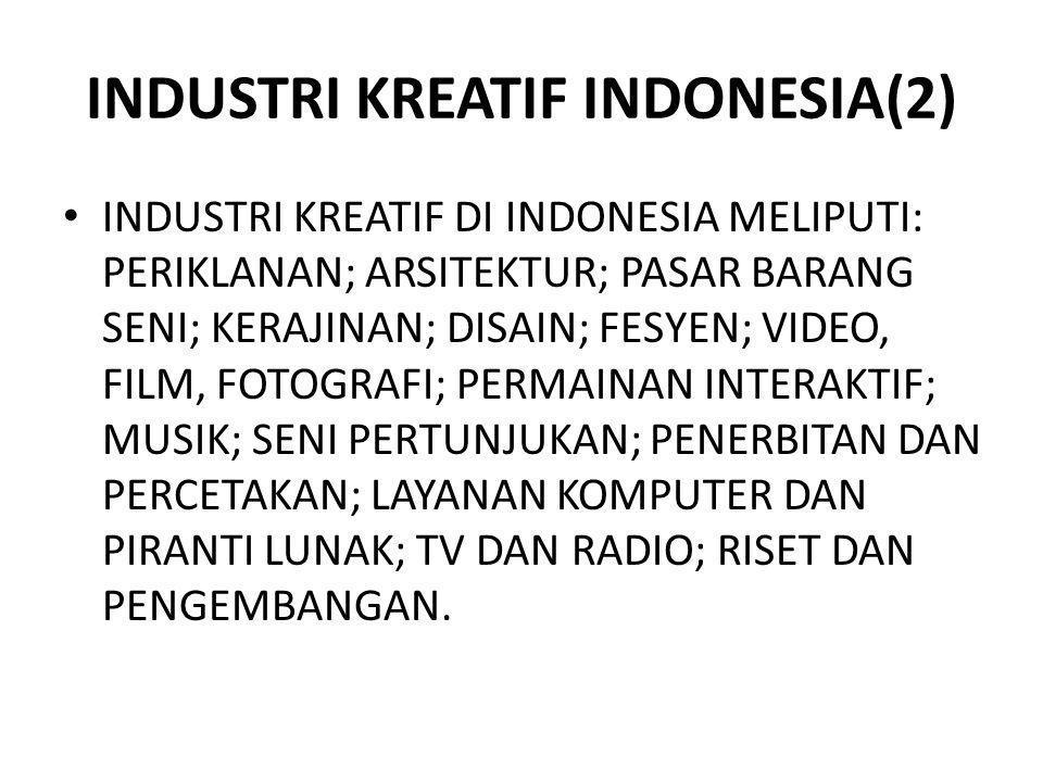 INDUSTRI KREATIF INDONESIA(2) INDUSTRI KREATIF DI INDONESIA MELIPUTI: PERIKLANAN; ARSITEKTUR; PASAR BARANG SENI; KERAJINAN; DISAIN; FESYEN; VIDEO, FIL