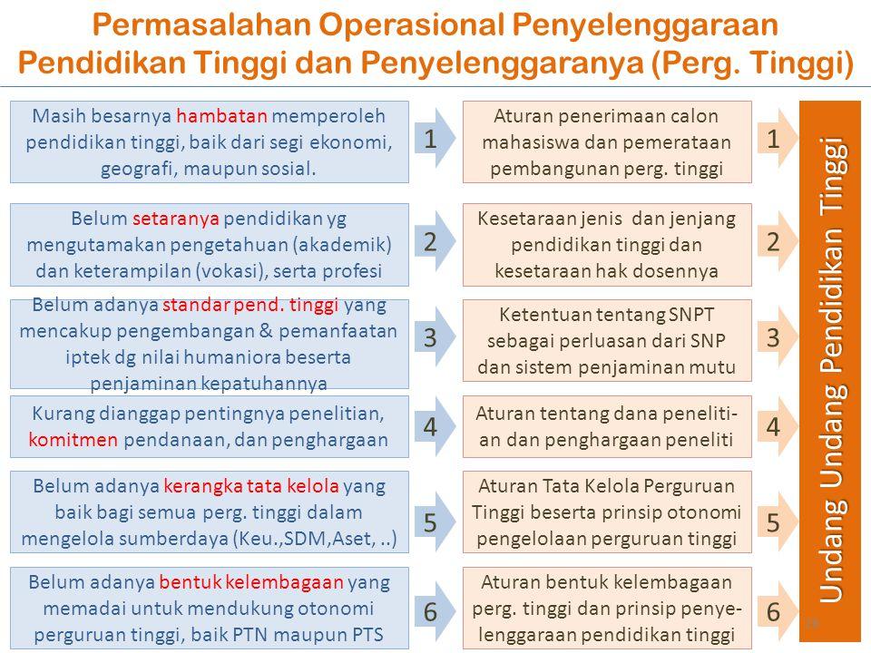 Permasalahan Operasional Penyelenggaraan Pendidikan Tinggi dan Penyelenggaranya (Perg. Tinggi) Belum adanya standar pend. tinggi yang mencakup pengemb