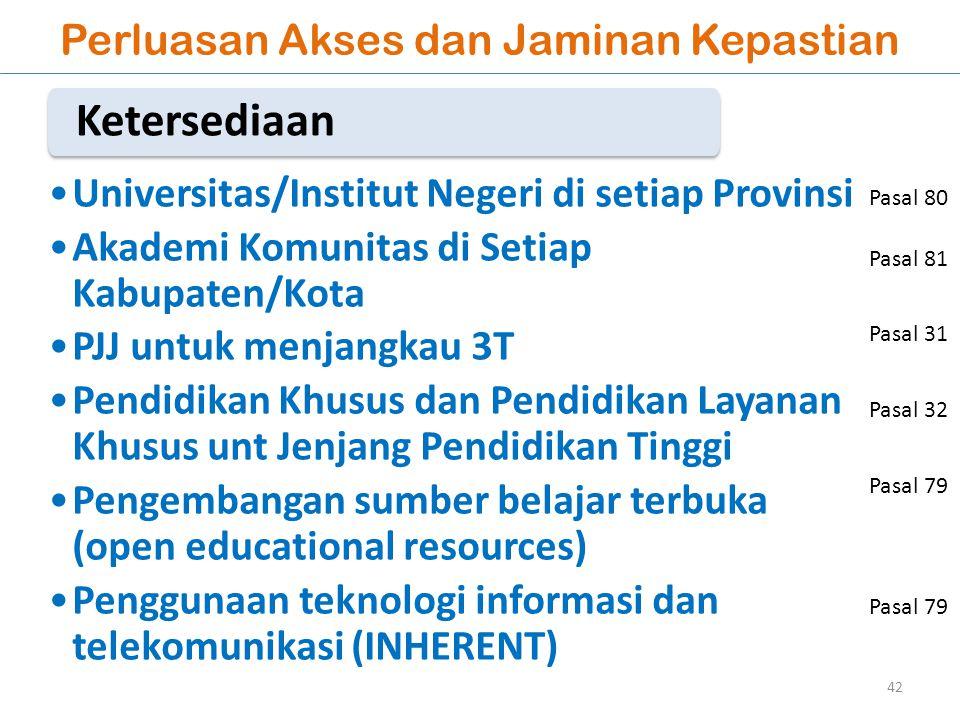 Perluasan Akses dan Jaminan Kepastian Universitas/Institut Negeri di setiap Provinsi Akademi Komunitas di Setiap Kabupaten/Kota PJJ untuk menjangkau 3