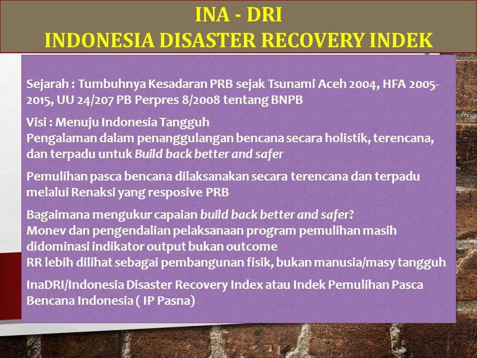 INA - DRI INDONESIA DISASTER RECOVERY INDEK Sejarah : Tumbuhnya Kesadaran PRB sejak Tsunami Aceh 2004, HFA 2005- 2015, UU 24/207 PB Perpres 8/2008 tentang BNPB Visi : Menuju Indonesia Tangguh Pengalaman dalam penanggulangan bencana secara holistik, terencana, dan terpadu untuk Build back better and safer Pemulihan pasca bencana dilaksanakan secara terencana dan terpadu melalui Renaksi yang resposive PRB Bagaimana mengukur capaian build back better and safer.