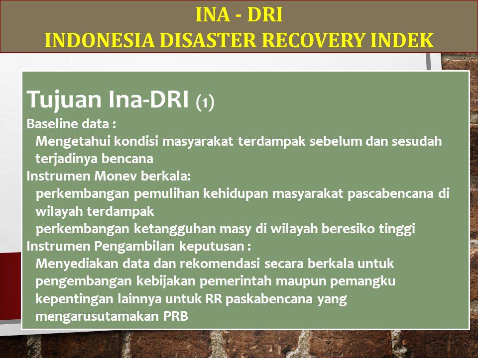INA - DRI INDONESIA DISASTER RECOVERY INDEK Tujuan Ina-DRI (1) Baseline data : Mengetahui kondisi masyarakat terdampak sebelum dan sesudah terjadinya