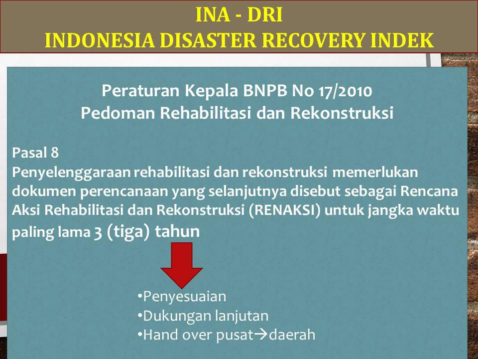INA - DRI INDONESIA DISASTER RECOVERY INDEK Peraturan Kepala BNPB No 17/2010 Pedoman Rehabilitasi dan Rekonstruksi Pasal 8 Penyelenggaraan rehabilitasi dan rekonstruksi memerlukan dokumen perencanaan yang selanjutnya disebut sebagai Rencana Aksi Rehabilitasi dan Rekonstruksi (RENAKSI) untuk jangka waktu paling lama 3 (tiga) tahun Penyesuaian Dukungan lanjutan Hand over pusat  daerah