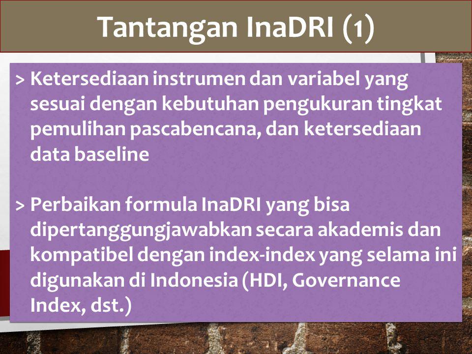 Tantangan InaDRI (1) > Ketersediaan instrumen dan variabel yang sesuai dengan kebutuhan pengukuran tingkat pemulihan pascabencana, dan ketersediaan data baseline > Perbaikan formula InaDRI yang bisa dipertanggungjawabkan secara akademis dan kompatibel dengan index-index yang selama ini digunakan di Indonesia (HDI, Governance Index, dst.) > Ketersediaan instrumen dan variabel yang sesuai dengan kebutuhan pengukuran tingkat pemulihan pascabencana, dan ketersediaan data baseline > Perbaikan formula InaDRI yang bisa dipertanggungjawabkan secara akademis dan kompatibel dengan index-index yang selama ini digunakan di Indonesia (HDI, Governance Index, dst.)