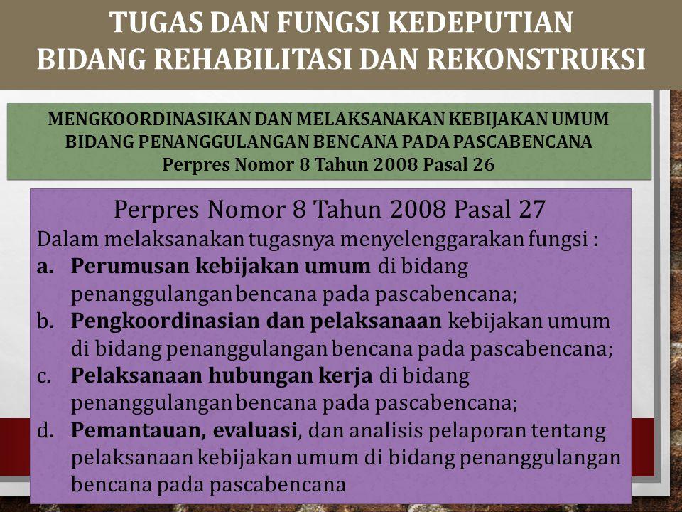 Perpres Nomor 8 Tahun 2008 Pasal 27 Dalam melaksanakan tugasnya menyelenggarakan fungsi : a.Perumusan kebijakan umum di bidang penanggulangan bencana