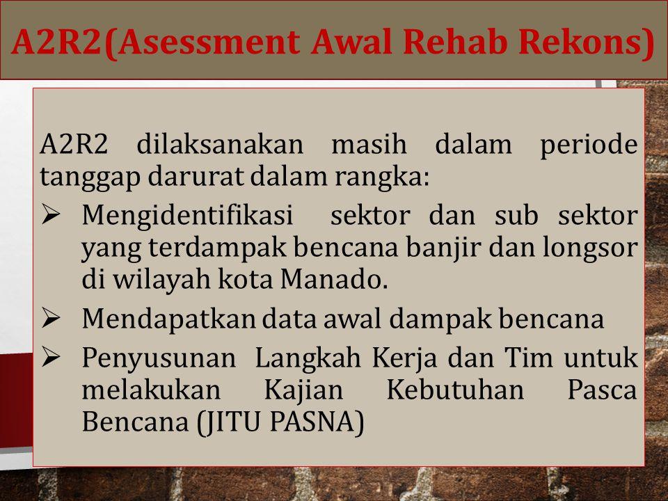 A2R2 dilaksanakan masih dalam periode tanggap darurat dalam rangka:  Mengidentifikasi sektor dan sub sektor yang terdampak bencana banjir dan longsor di wilayah kota Manado.