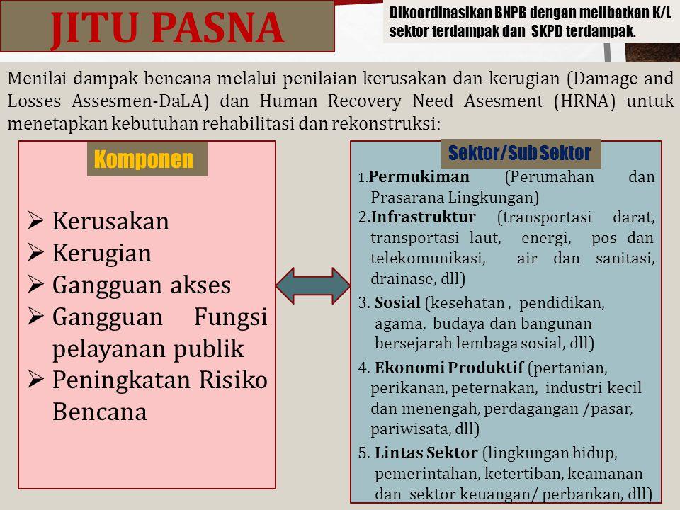 Menilai dampak bencana melalui penilaian kerusakan dan kerugian (Damage and Losses Assesmen-DaLA) dan Human Recovery Need Asesment (HRNA) untuk meneta