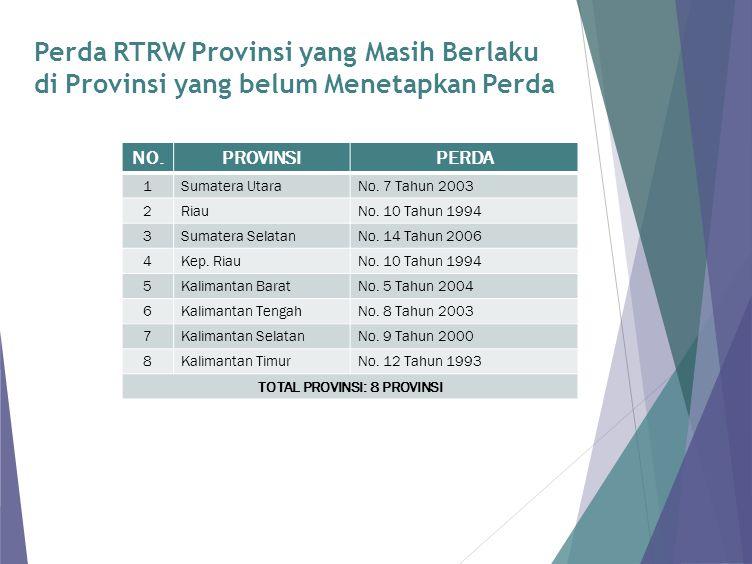 Perda RTRW Provinsi yang Masih Berlaku di Provinsi yang belum Menetapkan Perda NO.PROVINSIPERDA 1Sumatera UtaraNo. 7 Tahun 2003 2RiauNo. 10 Tahun 1994